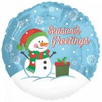 Круглый шар Снеговик и подарок