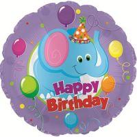 Круглый шар С Днем рождения (слоник)