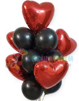 Букет Красные сердца на черном