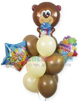 Букет из шаров Мишка с подарками