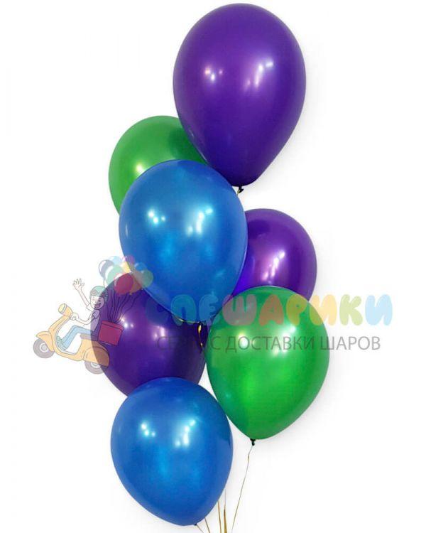 Шары сиий-зеленый-фиолетовый металлик