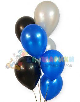 Шары серебро-синий-черный металлик