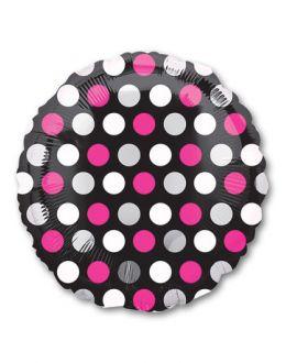 Круг Горошек бело-розовый на черном
