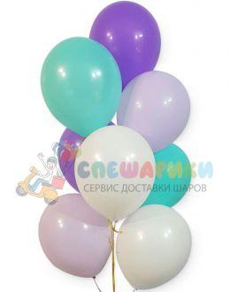 Шары белый-тиффани-сиреневый-фиолетовый