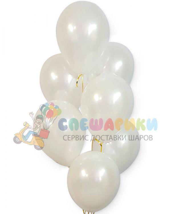 Белые воздушные шары перламутр