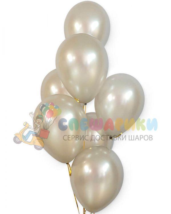Серебряные воздушные шары перламутр