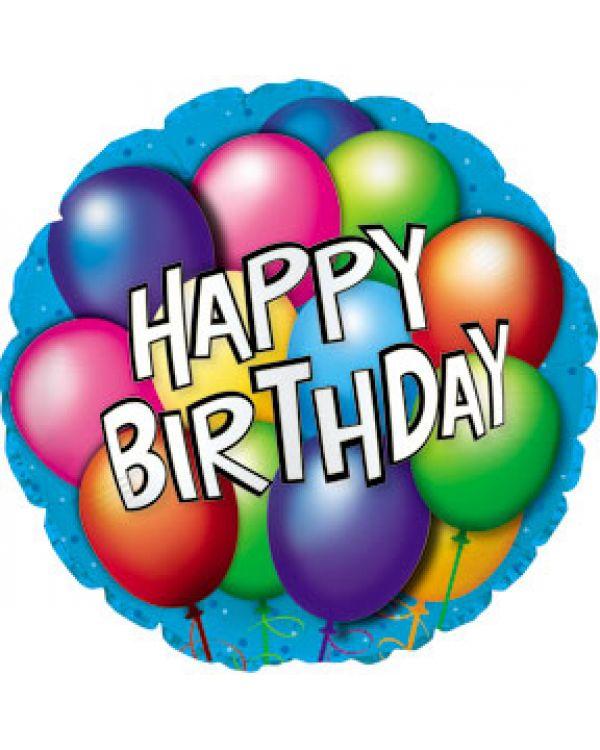 Круглый шар С Днем рождения (воздушные шарики)