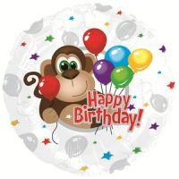 Круглый шар С Днем рождения (обезьянка)