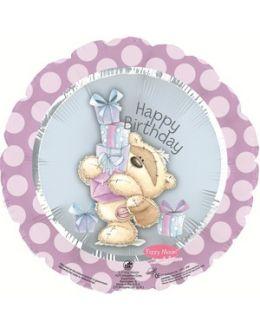 Круглый шар С Днем рождения (мишка с подарками)