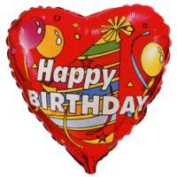 Сердце С Днем рождения (колпак и шары)