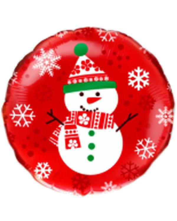 Круглый шар Снеговик на красном фоне