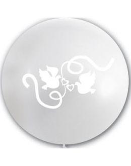 Большой свадебный шар Голуби (Белый)