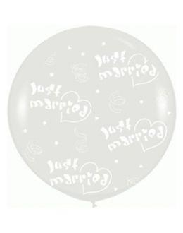 Большой свадебный шар Молодожены (Серебро)