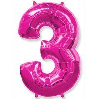 Шар Цифра 3 Розовая