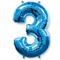 Шар Цифра 3 Синяя