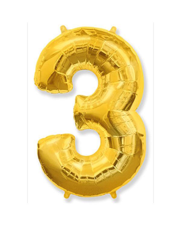 Шар Цифра 3 Золотая