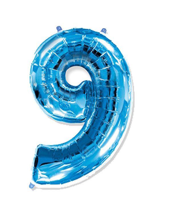 Шар Цифра 9 Синяя