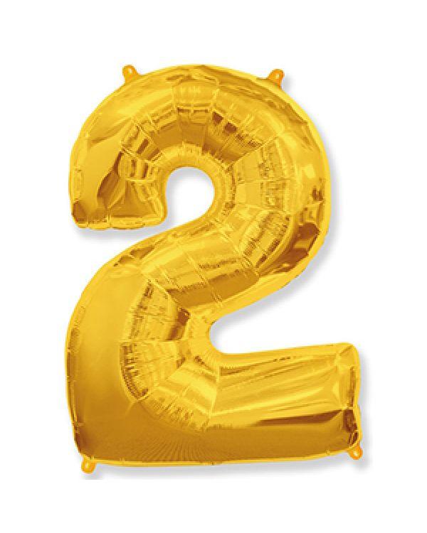 Шар Цифра 2 Золотая