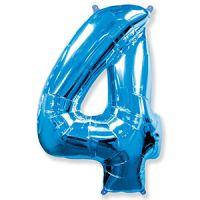 Шар Цифра 4 Синяя