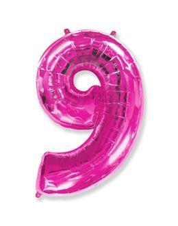 Шар Цифра 9 Фуксия