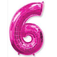 Шар Цифра 6 Розовая