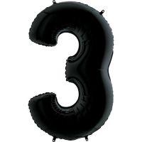 Шар Цифра 3 Черная