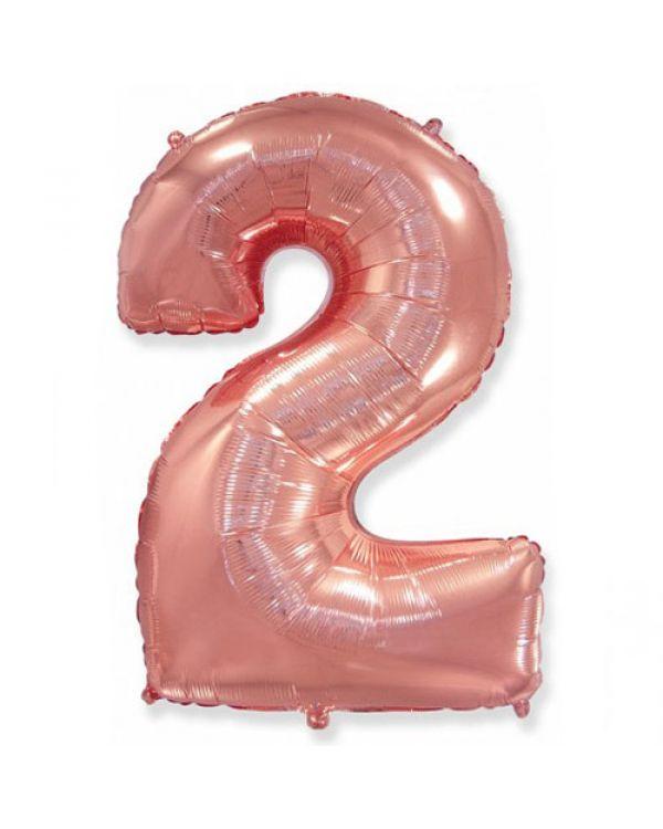 Шар Цифра 2 Розовое золото