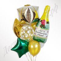 Букет Новогодний подарок с шампанским