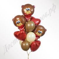 Букет из шаров Мишки с сердцами