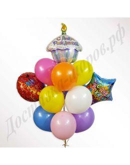 Букет из шаров С Днем рождения капкейк