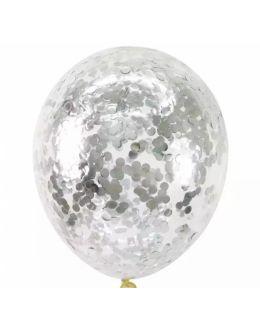 Воздушные шары с серебряным конфетти