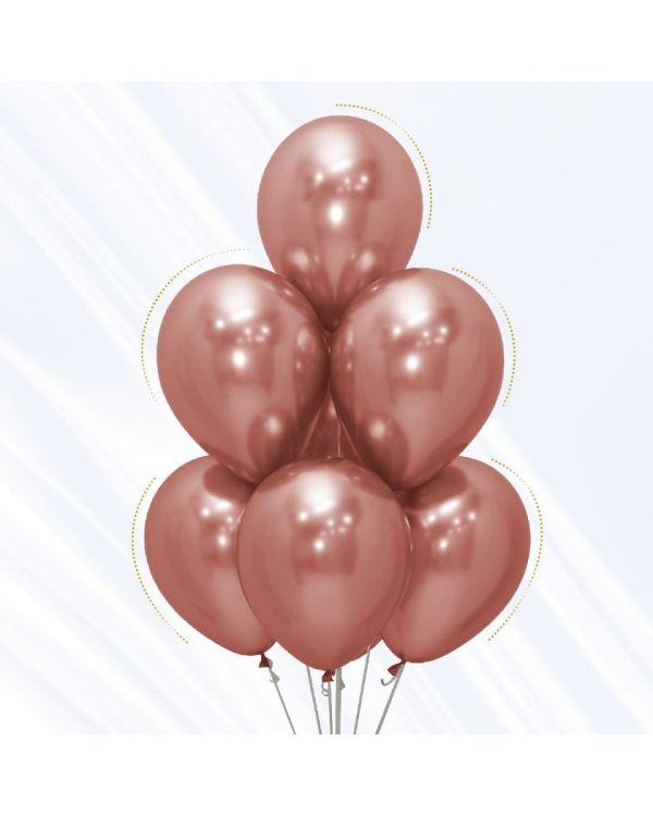 Воздушные шары Хром Розовое золото