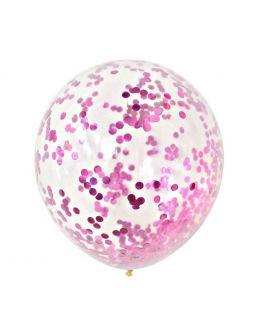 Воздушные шары с фукси конфетти
