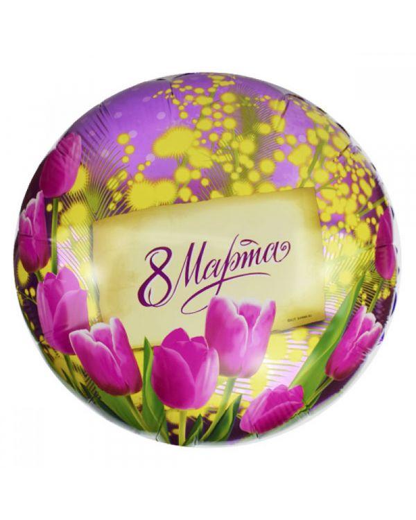 Круглый шар с 8 Марта (тюльпан и мимоза)