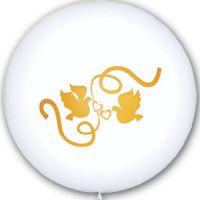 Большой свадебный шар Голуби (Золотой)