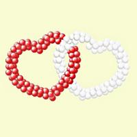 Двойное сердце из шаров