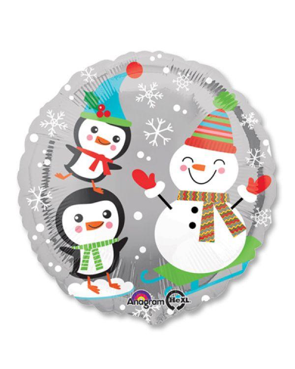 Круглый шар Санта Снеговик и Пингвины